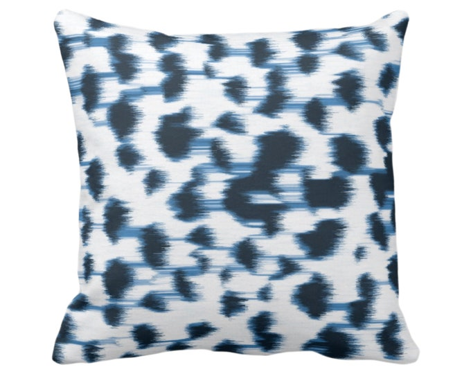"""Ikat Abstract Animal Print Throw Pillow or Cover 14, 16, 18, 20, 26"""" Sq Pillows/Covers, Indigo Blue/White Spots/Spotted/Dots/Dot/Geo/Painted"""