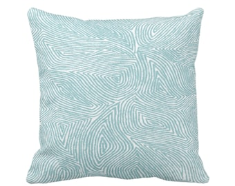 "Sulcata Geo Throw Pillow or Cover, Aqua & White 14, 16, 18, 20, 26"" Sq Pillows/Covers, Blue/Green Abstract Geometric/Tribal/Lines/Wavy/Boho"