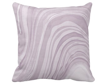 "OUTDOOR Marbled Throw Pillow/Cover, Iced Lavender 14, 16, 18, 20, 26"" Sq Pillows/Covers, Dusty Purple Abstract/Marble/Wavy Art Print/Pattern"