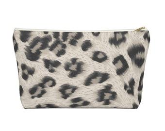Taupe Leopard Print Zippered Pouch, Animal Printed Design, Cosmetics/Pencil/Make-Up Organizer/Bag, Stone/Beige/Black Spots/Spot Pattern