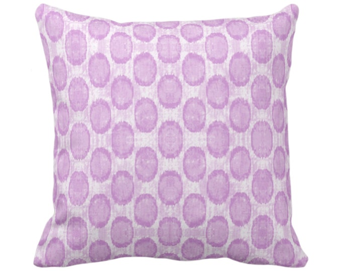 "Ikat Ovals Print Throw Pillow or Cover 14, 16, 18, 20, 26"" Sq Pillows or Covers, Orchid Purple Geometric/Circles/Dots/Dot/Geo/Polka Pattern"