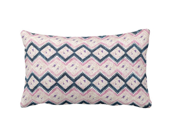 "OUTDOOR Chinese Wedding Blanket Printed Throw Pillow/Cover, Navy & Light Pink 14 x 20"" Lumbar Pillows or Covers, Vintage Embroidery Print"