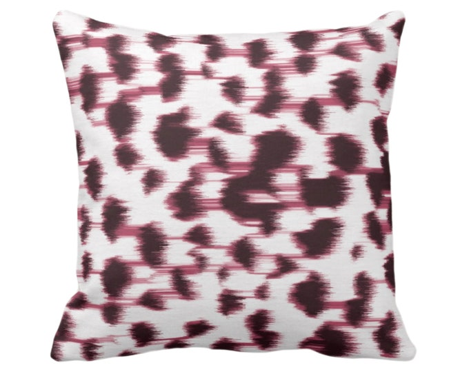 """OUTDOOR Ikat Abstract Animal Print Throw Pillow or Cover 14, 16, 18, 20, 26"""" Sq Pillows/Covers, Plum Wine/White Spotted/Dots/Spots/Geo/Dot"""