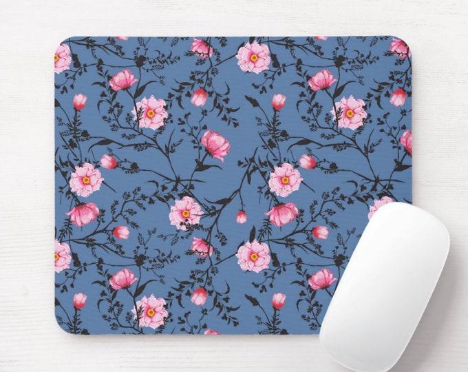 Blue & Pink Floral Mouse Pad, Watercolor Flowers/Art Print Mousepad, Cornflower/Bright Rose/Roses Flower Vine Pattern