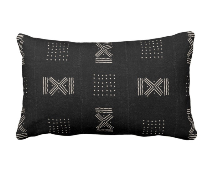 """Mud Cloth Throw Pillow or Cover, Double X & Dots Black/Off-White Arrows Print 14 x 20"""" Lumbar Pillows or Covers, Mudcloth/Tribal/Geometric"""