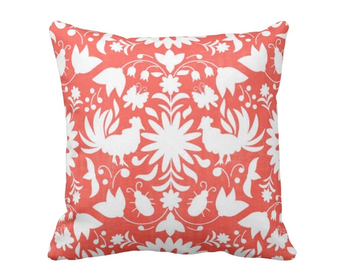 "Otomi Throw Pillow or Cover, Coral/White 16, 18, 20, 26"" Sq Pillows or Covers, Orange/Red Mexican/Boho/Floral/Animals/Nature Print"