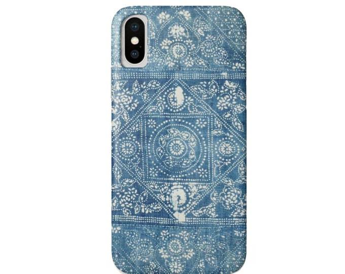 Vintage Batik Indigo iPhone 11, XS, XR, X, 7/8, 6/6S P/Plus/Max Snap Case or TOUGH Protective Cover, Blue Hill Tribe/Boho/Tribal/Mud Cloth