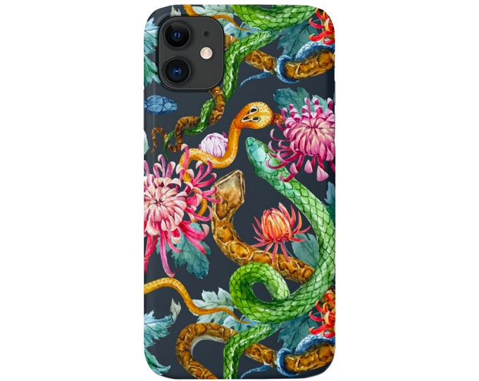 Snakes & Flowers iPhone 11, XS, XR, X, 7/8, 6/6S Pro/Max/P/Plus Snap Case or TOUGH Protective Cover, Floral/Flower Snake/Animal Print Galaxy