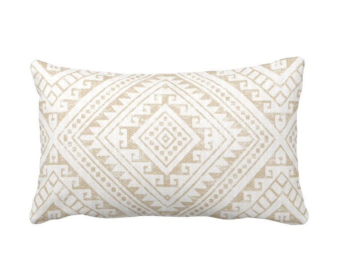 "OUTDOOR Diamond Geo Throw Pillow or Cover, Sand 14 x 20"" Lumbar Pillows/Covers, Light Beige/Flax/Cream Geometric/Batik/Geo/Tribal Print"
