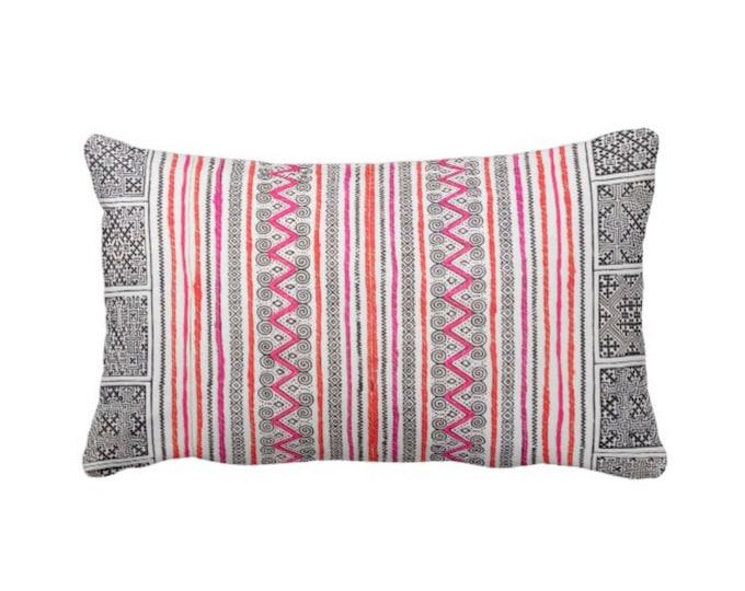 "Thai Batik Print Throw Pillow or Cover, Indigo/Pink/Orange 14 x 20"" Lumbar Pillow or Covers, Printed Vintage Embroidery Textile"