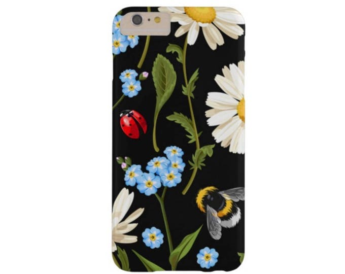Flowers & Insects iPhone XS, Max, XR, X, 7/8, 7/8 P, 6/6S or 6P Case-Mate Barely There or TOUGH Case/Cover, Blue Daisy/Ladybug/Bug/Bee Plus