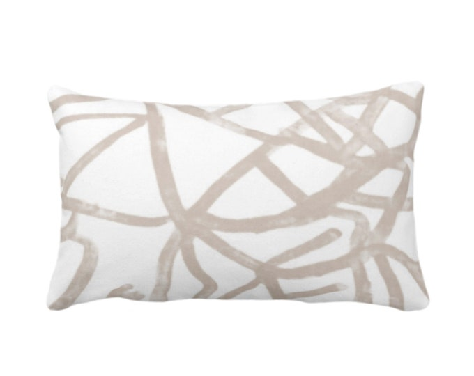 """Abstract Throw Pillow or Cover, Ivory/Bark Quartz 14 x 20"""" Lumbar Pillows or Covers, Painted Taupe/Beige Modern/Geometric/Lines Art Print"""