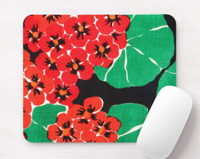 Retro Floral Mouse Pad, Vintage Maximalist Red/Green/Black Flowers/Art Print/Pattern Mousepad, Bright/Colorful/Happy