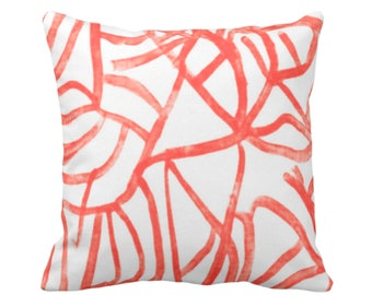 "OUTDOOR Abstract Throw Pillow or Cover, White/Coral 16, 18, 20"" Sq Pillows Covers, Salmon/Red Painted Modern/Lines/Geometric Painting Print"