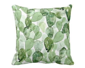 """Watercolor Cactus Throw Pillow or Cover, Green & White 16, 18, 20 or 26"""" Sq Pillows or Covers, Succulent/Southwes, Olive/Sage"""