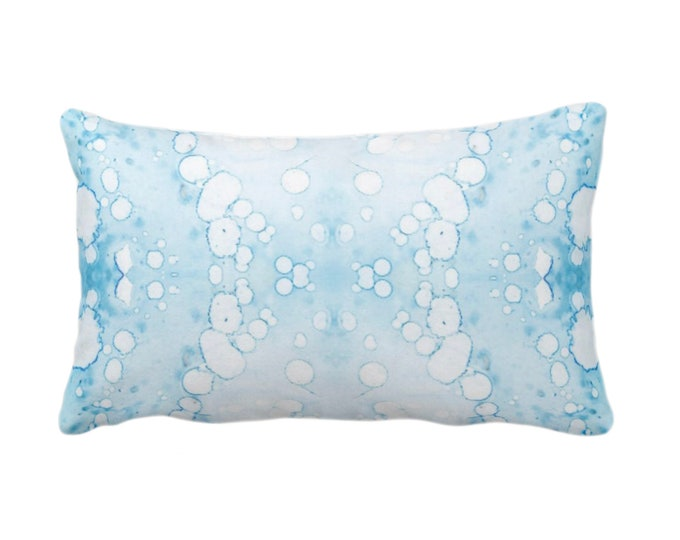 """OUTDOOR Mirrored Watercolor Throw Pillow/Cover 14 x 20"""" Lumbar Pillows/Covers Abstract Modern/Minimal Turquoise/Aqua/Pool Print/Design"""