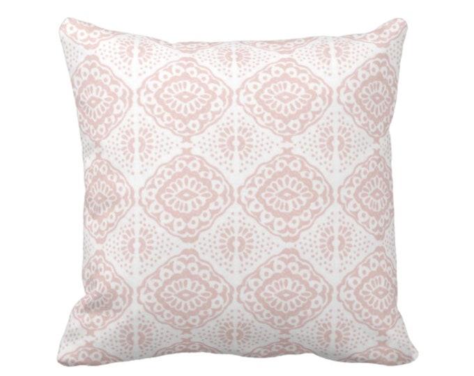 "OUTDOOR Block Print Medallion Throw Pillow or Cover, Pink/White 16, 18 or 20"" Sq Pillows or Covers, Blush Geometric/Tribal/Batik/Geo/Boho"
