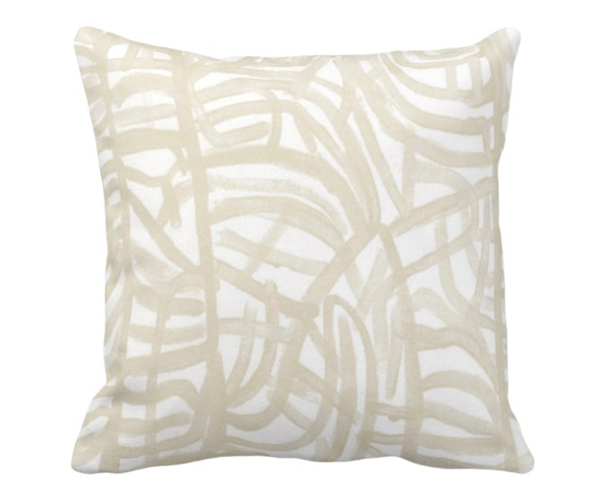 """OUTDOOR Avant Throw Pillow or Cover, White/Cream 16, 18, 20"""" Sq Pillows Covers Ivory/Off-White Painted Abstract Modern/Lines/Geometric Print"""