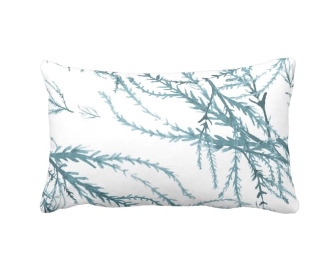 """OUTDOOR Watercolor Branches Throw Pillow or Cover, Sea Glass/White Print 14 x 20"""" Lumbar Pillows/Covers Ocean/Leaves/Botanical/Floral"""