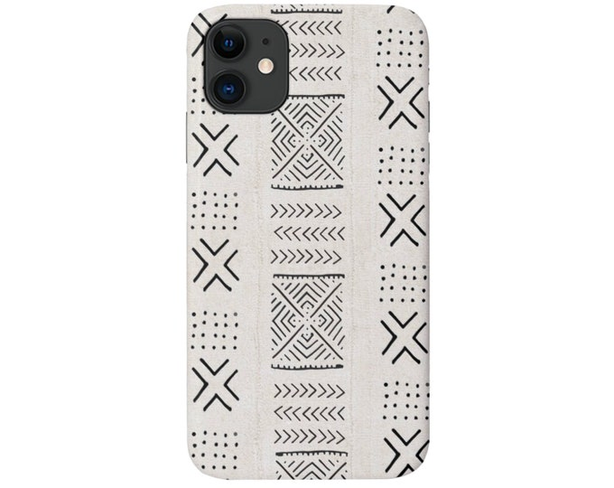 Mud Cloth iPhone 11, XS, XR, X, 7/8, 6/6S, Pro/Max/P/Plus Snap Case or Tough Protective Cover Tribal/Geometric Beige Diamond/X Print/Pattern
