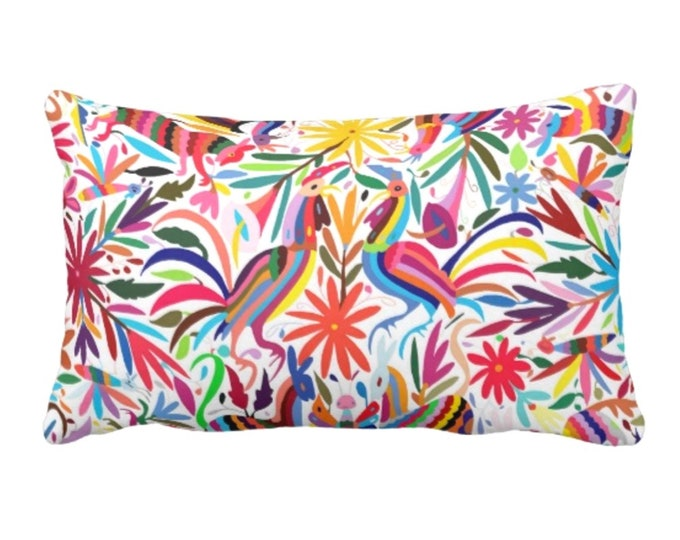 "Colorful Otomi Throw Pillow or Cover, Printed 14 x 20"" Lumbar Pillows or Covers, Bright/Mexican/Boho/Bohemian/Floral/Animal Print"
