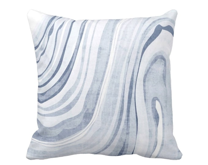 """Marbled Print Pillow or Cover, Dusty Blue 16, 18, 20, 26"""" Sq Pillows or Covers Indigo Marbled/Swirl/Abstract/Wave/Modern Pattern"""
