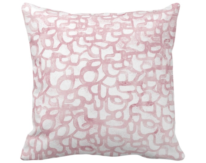 """OUTDOOR Abstract Curves Throw Pillow or Cover, Blush 14, 16, 18, 20"""" Sq Pillows/Covers Light Rose Pink Painted Modern/Geometric/Lines Print"""