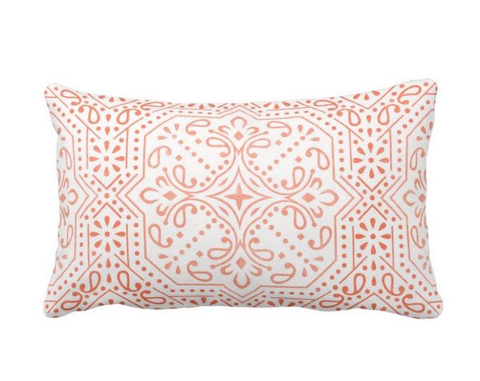 "OUTDOOR Tile Print Throw Pillow or Cover, Coral 14 x 20"" Lumbar Pillows/Covers, Melon/White Geometric/Batik/Trellis/Lattice Pattern"