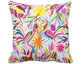 """OUTDOOR - READY 2 SHIP Colorful Otomi Throw Pillow Cover, Printed 16 or 18"""" Sq Covers, Floral/Flower/Animal/Mexican/Fun/Boho/Tribal Print"""