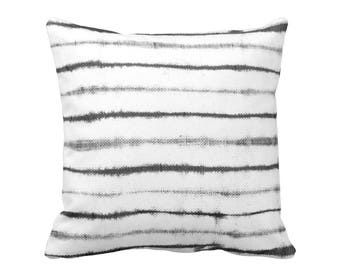 "OUTDOOR Uneven Lines Throw Pillow or Cover, Gray/White Print 16, 18 or 20"" Sq Pillows or Covers, Charcoal Shibori/Stripe/Striped"