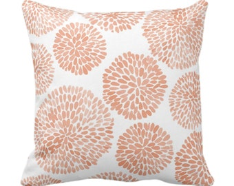"""Watercolor Chrysanthemum Throw Pillow or Cover, Apricot/White 14, 16, 18, 20, 26"""" Sq Pillows/Covers Coral/Orange Modern/Floral/Flower Print"""
