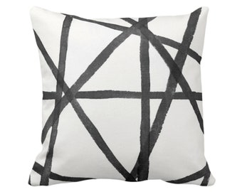"Hand-Painted Lines Throw Pillow or Cover, Charcoal/White 16, 18, 20 or 26"" Sq Pillows or Covers, Black/Gray Channels/Stripes/Lines/Print"