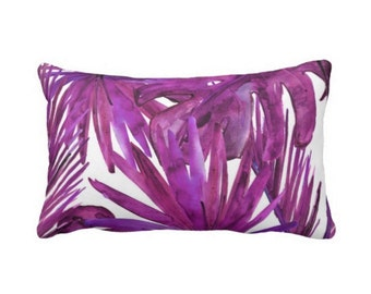 "OUTDOOR Palm Leaves Throw Pillow or Cover, Purple Tourmaline Print 14 x 20"" Lumbar Pillows or Covers, Bright/Colorful/Vibrant/Eggplant"