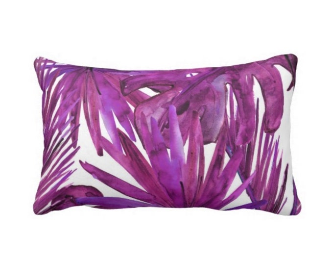 "Palm Leaves Throw Pillow or Cover, Purple Tourmaline Print 14 x 20"" Lumbar Pillows or Covers, Bright/Colorful/Vibrant/Eggplant"