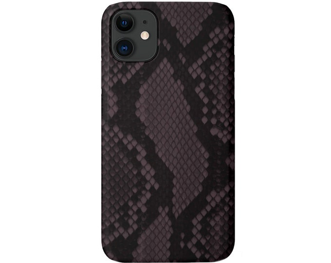 Raisin Snakeskin Print iPhone 11, XS, XR, X, 7/8, 6/6S Pro/Max/Plus/P Snap Case or TOUGH Protective Cover Purple Snake/Animal Pattern Galaxy