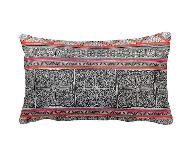 "Thai Batik Printed Throw Pillow or Cover, Dark Indigo, Pink & Orange 14 x 20"" Lumbar Pillows or Covers, Vintage Chinese Print"