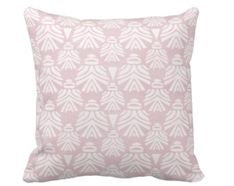 "OUTDOOR Block Print African Mask Throw Pillow or Cover, Dusty Lilac 16, 18, 20"" Sq Pillows, Covers, Light Pink/Purple Tribal Blockprint/Boho"