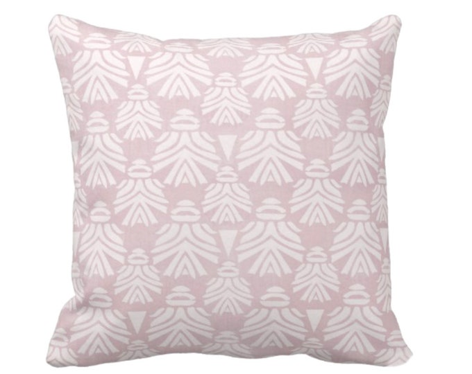 """OUTDOOR Block Print African Mask Throw Pillow or Cover, Dusty Lilac 16, 18, 20"""" Sq Pillows, Covers, Light Pink/Purple Tribal Blockprint/Boho"""