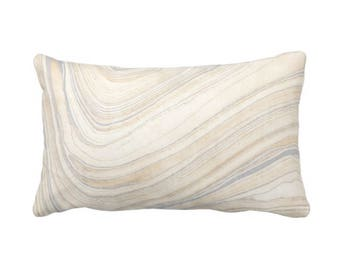 """Marble Print Throw Pillow or Cover, Beige/Gray 14 x 20"""" Lumbar Pillows or Covers, Tan/Gray, Modern/Abstract/Lines/Waves/Marbled"""