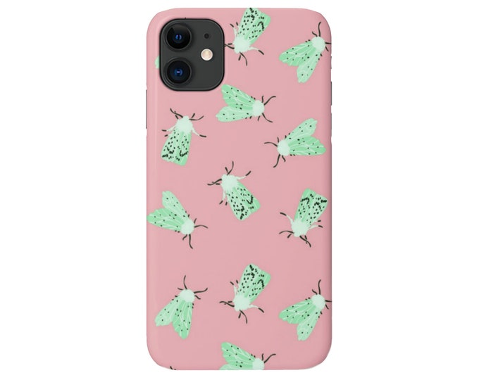 Moth Print iPhone 11, XS, XR, X, 7/8, 6/6S P/Plus/Max Snap Case or TOUGH Protective Cover, Light Pink/Mint Green Insect/Butterfly/Bug/Bugs