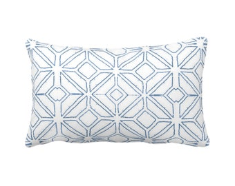 "Tribal Trellis Throw Pillow or Cover, Navy/White 14 x 20"" Lumbar/Oblong Pillows/Covers, Blue Geo/Geometric/Diamond/Triangles Print/Pattern"