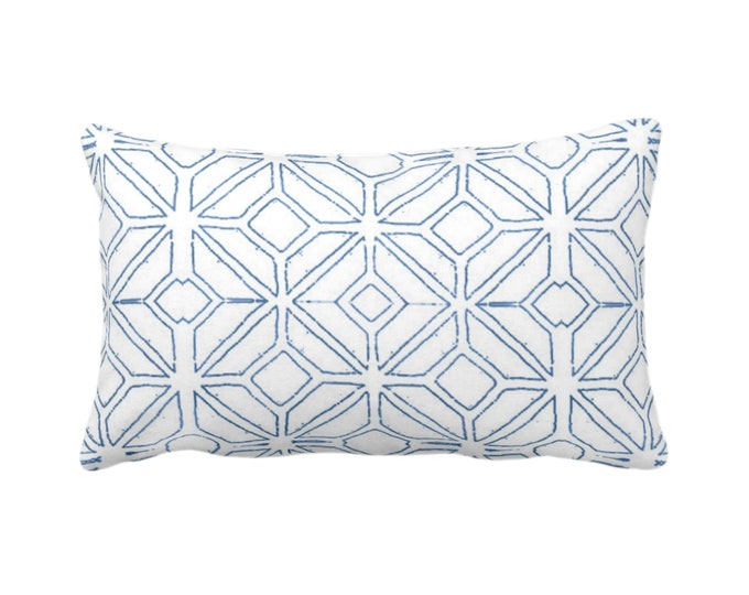 "Tribal Trellis Throw Pillow or Cover, Navy/White 14 x 20"" Lumbar/Oblong Pillows/Covers, Blue Geo/Geometric/Diamond/Triangles Print/Pattern"