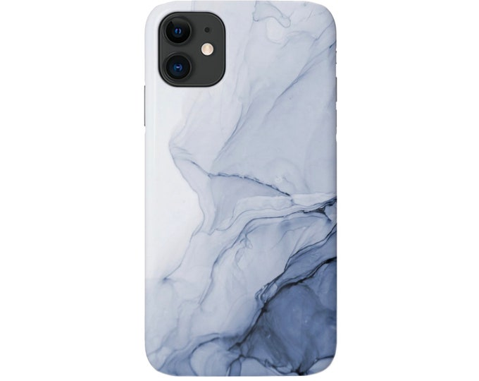 Navy Abstract iPhone 11, XS, XR, X, 7/8, 6/6S Pro/Max/P/Plus Snap Case or TOUGH Protective Cover, Dark Blue Swirl/Marble/Modern/Color Bleed