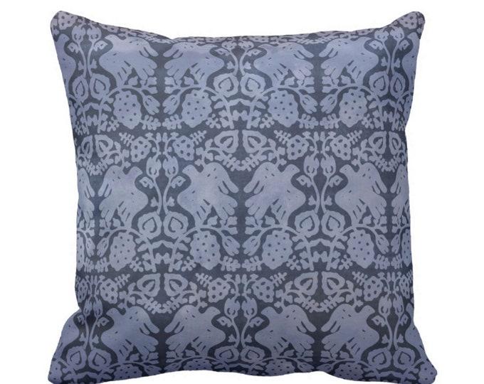 "Block Print Bird Floral Throw Pillow or Cover, Navy 16, 18, 20, 26"" Sq Pillows or Covers, Dark Blue/White Blockprint/Boho Print"