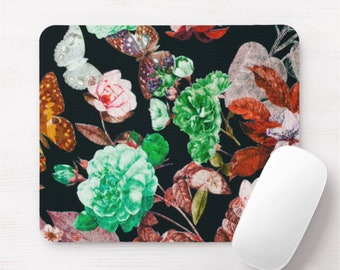 Vintage Floral Mouse Pad, Black, Green, Red & Orange Flowers/Art Print Mousepad, Butterflies/Flowers/Retro/Wallpaper Colorful/Bright