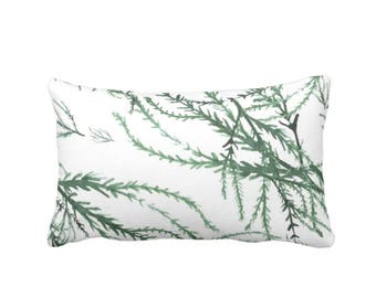 "OUTDOOR Watercolor Branches Throw Pillow or Cover, Kale/White Print 14 x 20"" Lumbar Pillows/Covers, Green Leaves/Botanical/Floral Pattern"