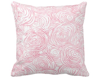 "Watercolor Faux Bois Throw Pillow or Cover, Pink 14, 16, 18, 20, 26"" Sq Pillows/Covers Light/Bright Painted Modern/Geometric/Geo Print"