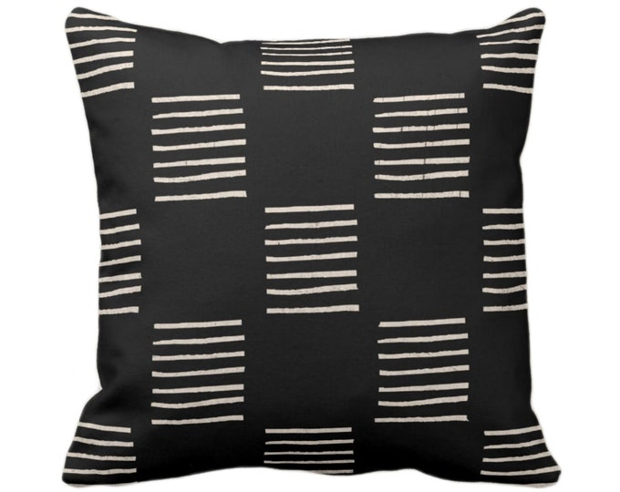 "Mud Cloth Print Throw Pillow or Cover, Lines Black/Off-White 14, 16, 18, 20, 26"" Sq Pillows/Covers, Mudcloth/Geo/Boho/Tribal/African Design"