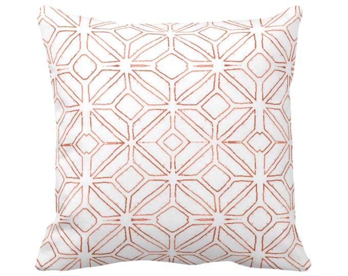 "Tribal Trellis Throw Pillow or Cover, Burnt Orange/White 14, 16, 18, 20, 26"" Sq Pillows/Covers, Geo/Geometric/Diamond/Triangle Print/Pattern"
