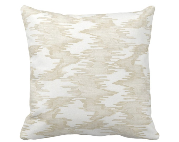 """Ikat Print Throw Pillow or Cover, White/Cream 14, 16, 18, 20, 26"""" Sq Pillows/Covers Ivory Abstract/Lines/Modern/Water/Stripe/Geo/Lines Print"""